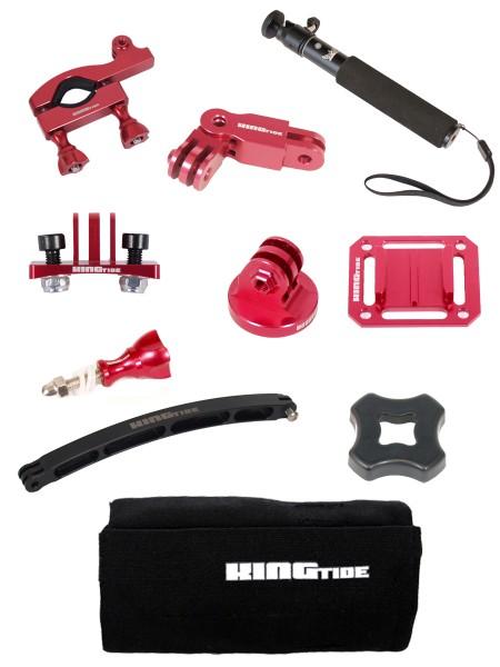 Kingtide GoPro Mount Bundle Red 10 Teile Set