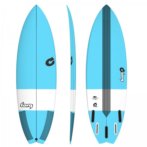 "TORQ 6'6"" Epoxy TEC Performance Fish Surfboard blue"