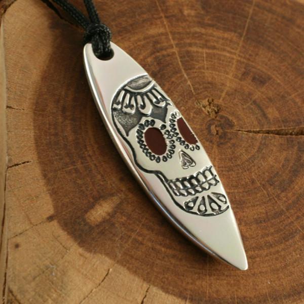 Silver+Surf Silber Schmuck Surfboard Gr XL Skull