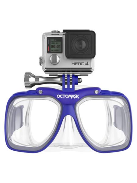Octomask Taucherbrille mit GoPro/Actionpro Halterung Standard-Optik blau