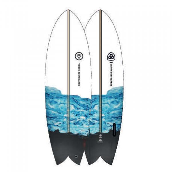 Surfboard VENON Node 5.11 Twinfin Retro Fish marbl