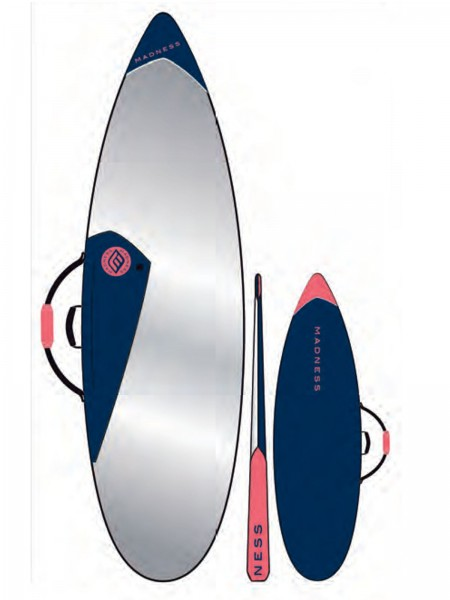 "Madness Boardbag PE 6.4"" Shortboard Blau/Rot"