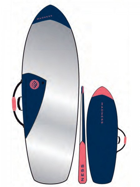 "Madness Boardbag PE 6.4"" Fish Blau/Rot"