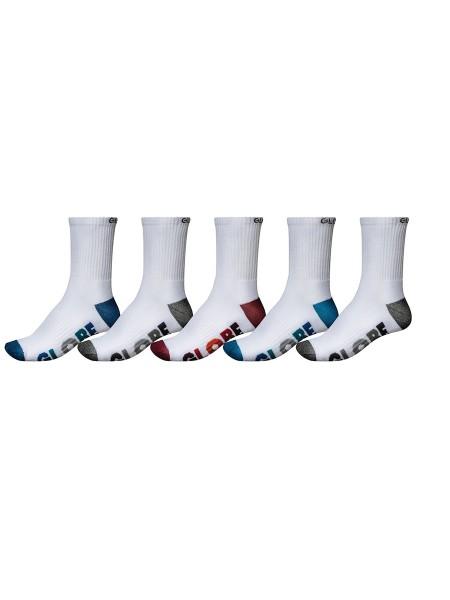 Globe Multi Stripe Crew white 5-Pack Socken