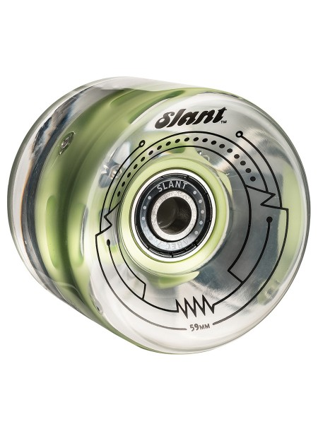 Globe Longboard Slant Lit Wheel 59mm clear green (4er Set)