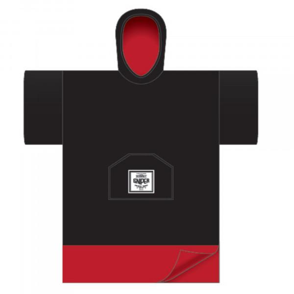 SNIPER Change Robe Poncho Unisize Schwarz Bund Rot