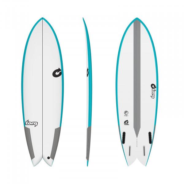 Surfboard TORQ Epoxy TEC Quad Twin Fish 6.4 Rail