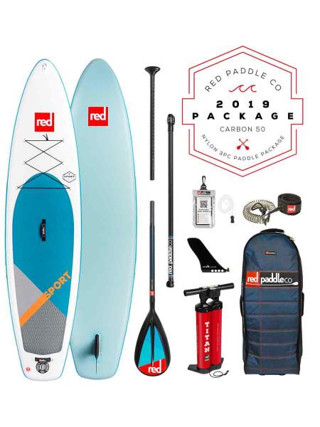 "Red Paddle 11'3"" Sport + Carbon 50 Nylon 3tlg. iSUP Set 2019"
