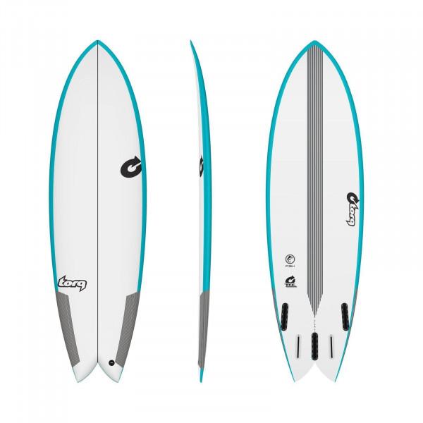 Surfboard TORQ Epoxy TEC Quad Twin Fish 7.2 Rail
